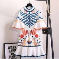New Women Ladies White Summer Short Bell Sleeve Printed Mini Party Dress