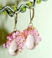 14k Gold GF Pink Topaz Pink Quartz Gemstone Briolette Earrings