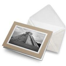 Greetings Card (Biege) BW - Chichen Itza Temple Maya Mexico  #41553