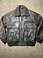 Claiborne Lambskin Leather BROWN Jacket Size MENS LARGE CAFE BOMBER COAT Flight