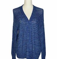 Coldwater Creek Open Cardigan Sweater Size Medium Tie Dye Blue Crochet NEW NWT