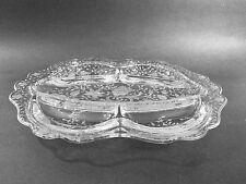 CAMBRIDGE GLASS #3900 SHAPE 5 PART OBLONG RELISH DISH -WILDFLOWER ETCH 1939-1958