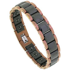 "8"" Tungsten Carbide Magnetic Bracelet,2-Tone (Rose & Black) Faceted Square Links"