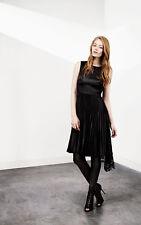 New KAREN MILLEN Black Pleated Patchwork Lace Dress BNWT 12 Shift DT185