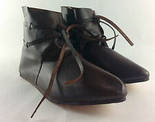 Viking Medieval ankle boots leather with leather laces reenactment Shoes LARP UK