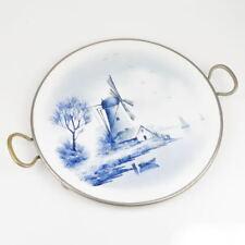 alte Tortenplatte - Windmühle - Metallrahmen - Tablett - Keramik / Porzellan
