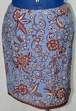 Petite Sophisticate 4 Skirt Blue Brown Lined Floral Polka Dot Short Straight 4P