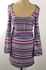 Judith March Go Go 60s Style Mini Dress Size M Purple Blue Chevron Bell Sleeves