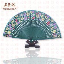Handmade Chinese Painting hand Held Folding Silk Fan Wedding Decor Art #f204
