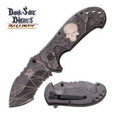 SPRING-ASSIST FOLDING POCKET KNIFE Gray Glow-in-Dark Skull Serrated Blade