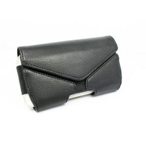 Black Leather Side Case Cover Pouch Holder Belt Clip for Cell Phones