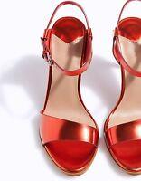 Zara Sis Stradivarius Red Metallic Ankle Strap Sandals High Heel Size 6 UK 39 EU