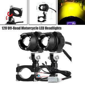 Pair 12V Off-Road Motorcycle LED Headlight Spotlight ATV Fog Yellow/White Light