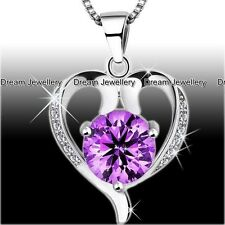 Purple Amethyst Heart Silver Necklace Diamond Pendant Birthday Mum Gifts for Her