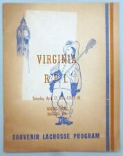 1954 University of Virginia versus R. P. I. ~ Souvenir Lacrosse Program NCAA