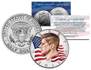 Colorized * FLOWING FLAG * 2015 JFK John F Kennedy Half Dollar U.S. Coin P Mint