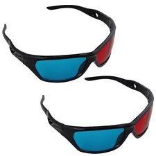 2 Pack Black Frame Red Blue 3D Glasses For Dimensional Anaglyph Movie Game DVD