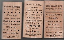 Stampin Up 2007 Retired So Many Sayings Set of 3  Wood Mounted Rubber Stamps