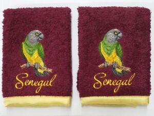 "Senegal Bird Parrot Embroidered Wash Cloths, Burgundy 2 pack 12.5"" x 12.5"""