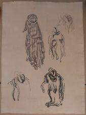 Grand Beau DESSIN Ancien Étude Chevelures MARCEL LENOIR 1920 Montauban