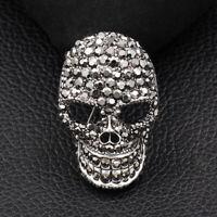 Betsey Johnson Crystal Rhinestone Skull Head Charm Brooch Pin Jewelry Gift