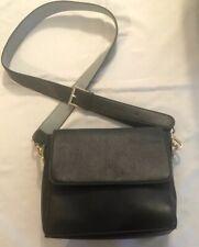 Carpisa Black Small Flap Bag With Shoulder Belt Strap Faux Leather