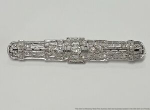 Antique Approx 0.62ctw Art Deco Old Cut Diamond Filigree Ladies Platinum Brooch