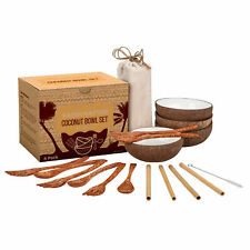 Coconut Bowl Set - 4 Bowls, Spoons, Forks, Bamboo Straws - 100% Natural, Vegan