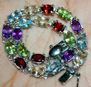 "Sterling Silver 925 Bracelet Multi Color Gemstones 7.25"" Garnet Peridot B Topaz"
