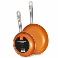 """Nonstick  Copper Frying pan set - 2 piece 10"""" & 8"""" New, Free shipping!"""