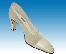 80s Unworn $450 Comcedia Handmade Italian Heels 38 8 Ivory Suede & Net Couture