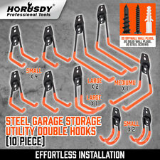 10-Pack Steel Garage Storage Utility Double Hooks Wall Organizer Tool Hanger H-D