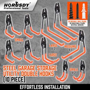 10-Pack Steel Garage Storage Utility Double Hooks Wall Organizer Tool Hanger H-D