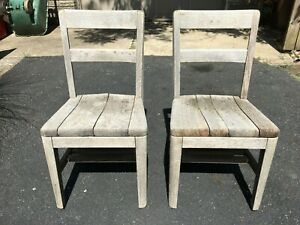 (Two of a kind!) Pair of Antique 1900's B. L. Marble Solid Wood Chairs USA Made!
