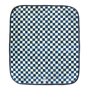 Mackenzie Childs ROYAL CHECK Blue PET BLANKET -LARGE-  White Back Dog Bed m20-jl