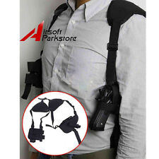 Horizontal Tactical Shoulder Pistol Hand Gun Holster with Magazine Pouch Black