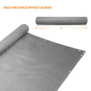 Gray 3'x 15' 25' 50' Feet Privacy Fence Deck Screen Yard Shade Home Patio Cover