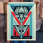 Shepard Fairey Obey Giant Deco Flower BLUE Print Poster Signed Numbered /300