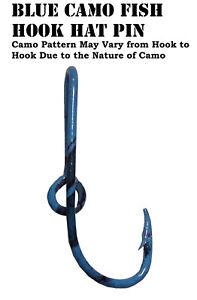 Blue Camo Eagle Claw Fish Hook Hat Pin Fish Blue Camo Hook Money Clip
