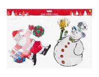 Window Plaques (Santa+Snowman) Cling Sticker (30X25)CM Xmas Window Sticker