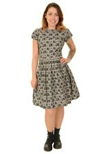 Ladies 50's Retro Vintage Pug Face Pleated Tea Dress