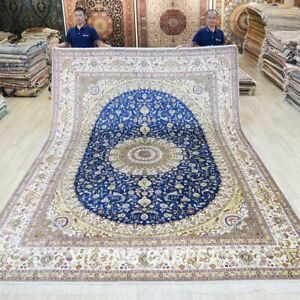 Blue Medallion Hand-knotted Carpet 9x12ft Handwoven Silk Area Rug 006M
