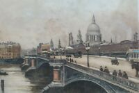 Antique London Etching St Pauls Cathedral Edward King by Eugene Tily Circa 1920