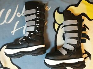 Ultraviolet moon boots - Gothic Night Club Boots - Black & White