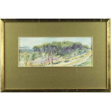 Framed Original Mid 20thC Impressionist Woodland Landscape Watercolour Painting
