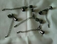 10 x 10-11mm END CAPS, LOBSTER CLASP, EXTENDER CHAIN for KUMIHIMO, CORD. BLACK