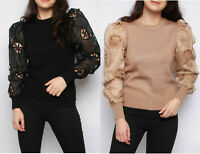 Ladies Warm High Neck Soft Puff Balloon Embroidered Sleeves Knitted Jumper 8-14