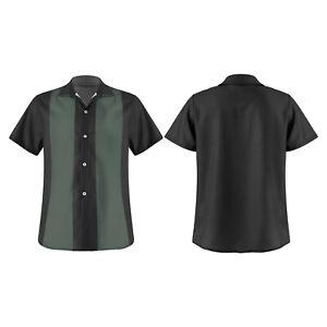 Men Bowling Shirt Cuban Style Retro Short Sleeve Camp Button Vintage Casual Top