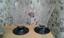 TWO.....Beautiful....WINE GLASSES.... (etched flowers(roses)..../black base...