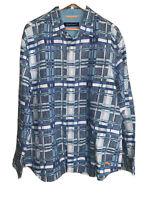 New Tommy Bahama Men's XL Button Down Shirt Linen L/S Bering Blue Plaid NWT$118